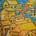 Mountain City original oil painting listed by artist By Duta Razvan