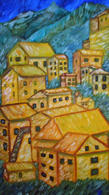 Artist Duta Razvan. 'Mountain City Original Oil Painting Listed By Artist' Artwork Image, Created in 2011, Original Painting Oil. #art #artist