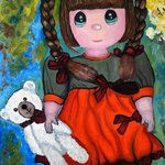 Rosie And White Teddy original oil paintings By Duta Razvan