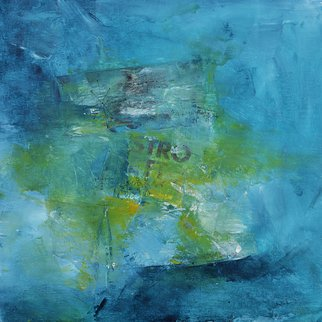Robert Van Bolderick: 'stro', 2018 Acrylic Painting, Abstract. Artist Description: Abstract collage by Robert van Bolderick contrasts the varied hues of blue with the dry essence of paper composed using acrylic painting and mixed media. The inspired hues of this original artwork are presented in deep shades of blue, sea green shadows and moss green, brown, yellow and ...