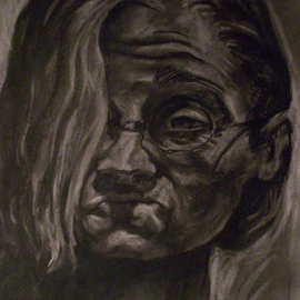 Tracey Datsi Pennell Artwork Grotesque Self Portrait, 1998 Charcoal Drawing, Portrait