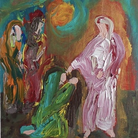 Paulo Medina: 'Mujeres caminando con Jesus ', 2020 Acrylic Painting, Religious. Artist Description: Small picture for devotion ...
