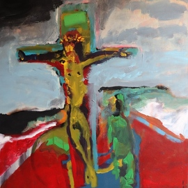 Paulo Medina: 'crucifixion', 2004 Acrylic Painting, Religious. Artist Description: Acrylic on Canvas...