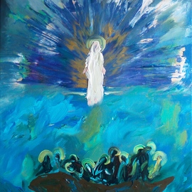 Paulo Medina: 'fearful apostles', 2021 Acrylic Painting, Religious. Artist Description: And they seeing him walking upon the sea, were troubled, saying It is an apparition.  And they cried out for fear.  Mt 14, 26...