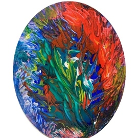Paulo Medina: 'intitulado', 2019 Acrylic Painting, Botanical. Artist Description: pouring technique...