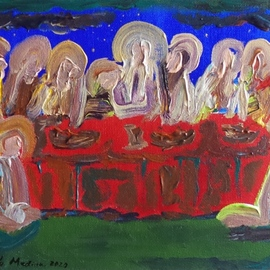 Paulo Medina: 'last supper', 2020 Acrylic Painting, Religious. Artist Description: A small painting for personal devotion...