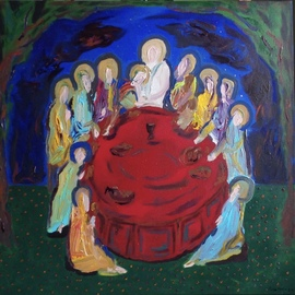 Paulo Medina: 'last supper', 2020 Acrylic Painting, Religious. Artist Description: A circular last supper ...