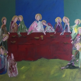 Paulo Medina: 'last supper', 2021 Acrylic Painting, Religious. Artist Description: The final meal Christ with His Apostles on the night before the Crucifixion. ...