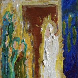 Paulo Medina: 'ten virgins', 2021 Acrylic Painting, Religious. Artist Description: Now whilst they went to buy the bridegroom came: and they that were ready went in with him to the marriage. And the door was shut. Mt 25, 10. ...