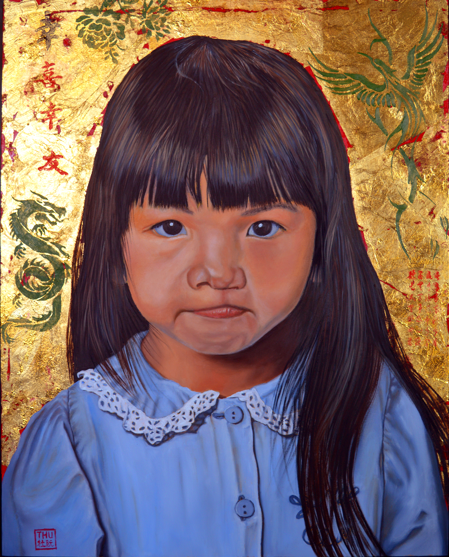 Thu Nguyen: 'determination', 2019 Oil Painting, Children. This is an original oil and gold leaf on panel painting, image size 16 x 20 inches, framed.If you love portrait paintings for your art collection, this one is for youThis painting is part of Amelie- An SeriesAmelie- An was born in Can Tho, South Vietnam in ...