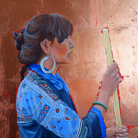 Thu Nguyen: 'the black hmong princess', 2018 Oil Painting, Portrait. Artist Description: oil and copper leaf on panel , 16 x 20 inches, framed ready to hang...