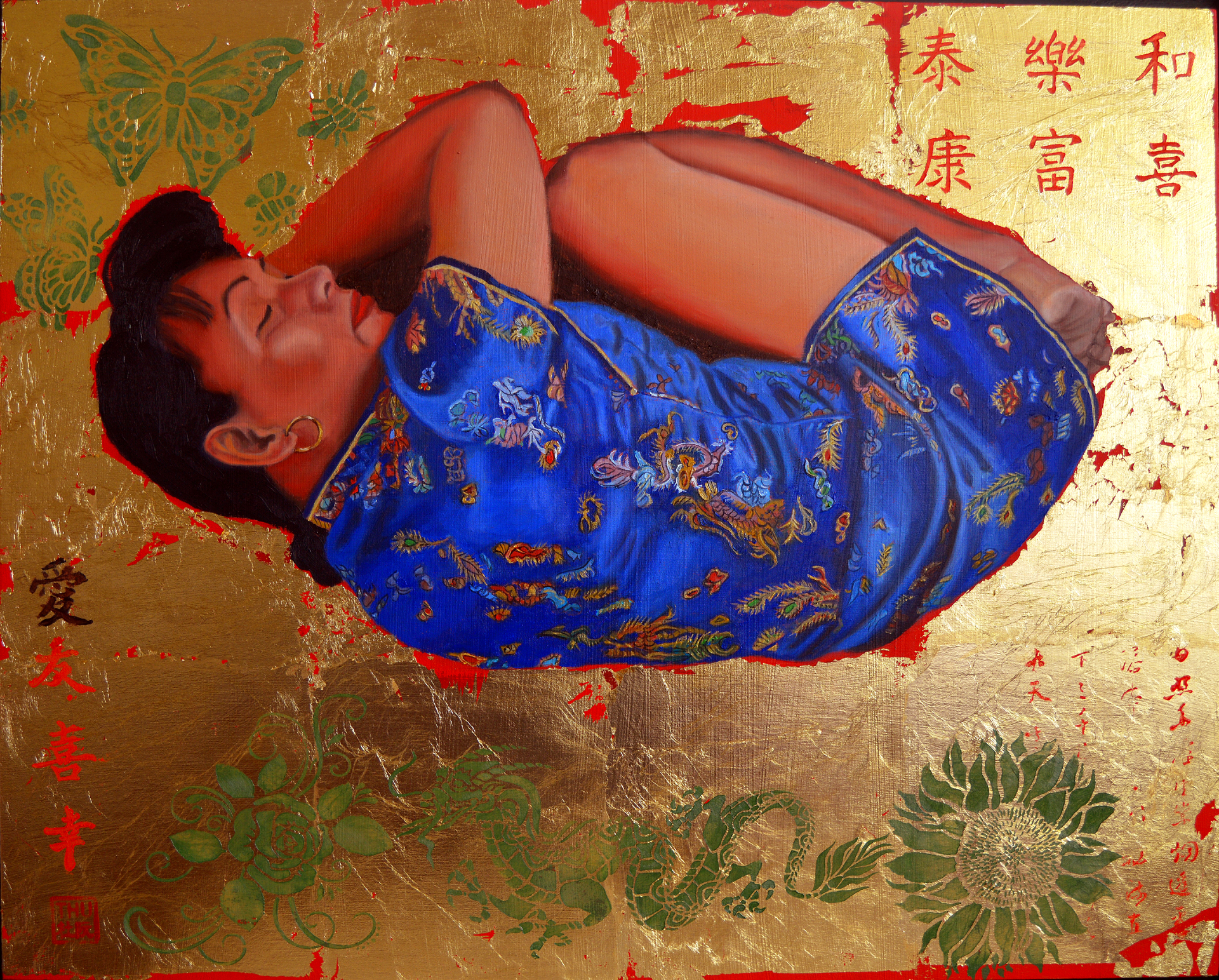 Thu Nguyen: 'the dream', 2019 Oil Painting, Figurative. Painting with the image of a sleeping, crouching Chinese Woman.  Medium- format painting with a combination of different materials and techniques - from relief acrylic to luxurious 24 kt gold leaf.Original paintingThe Dreamby Thu NguyenPainting is created on a panel and has a relief.  The painting is framed and ...