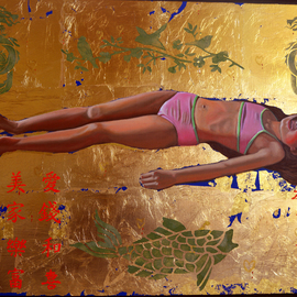 Thu Nguyen: 'the fallen barbie', 2019 Oil Painting, Conceptual. Artist Description:  The Fallen Barbie , oil and gold leaf on panel, image size 16 x 20 inches, framedThis painting portrays the contrast between the stereotype of a carefree sweet childhood with the reality of a life often filled with anxiety, confusion, broken heart and loneliness. ...