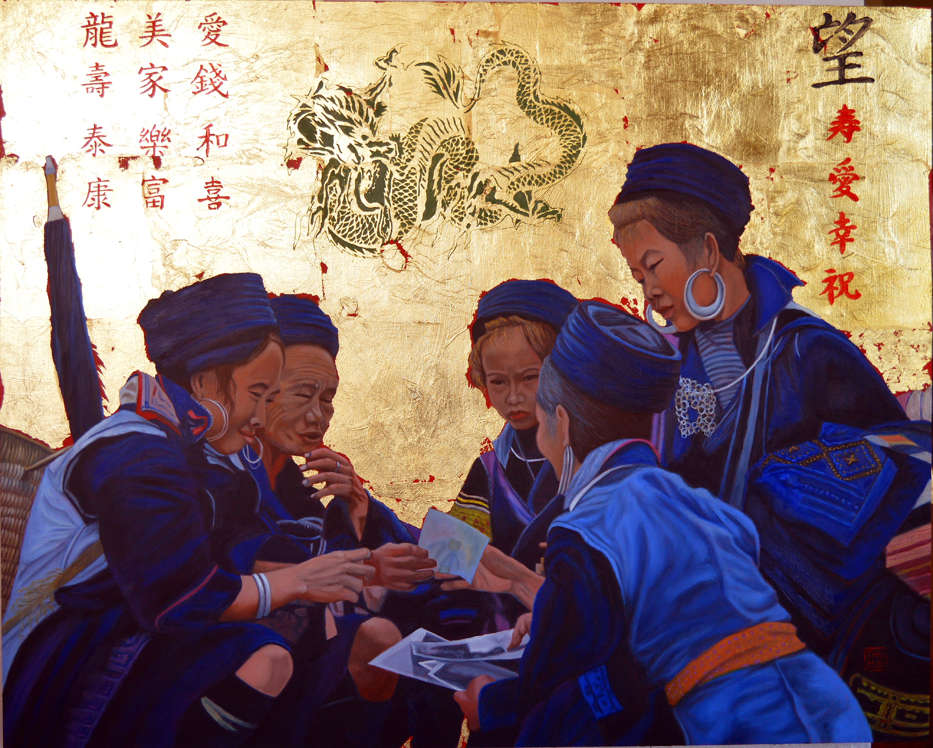 Thu Nguyen: 'the meet market', 2019 Oil Painting, Culture. This is an original oil painting.  Titled The Meet MarketMaterial oil and 24 kt gold on panelDimension 24 x 30 inchesA scene of Sapa s market with gathering of Black Hmong Women.  This painting is part of my Sapa SeriesThis body of work inspired by my trips ...