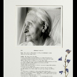 George Transcender: 'alzheimers series  1', 2001 Black and White Photograph, Death. Artist Description:  text alzheimers series  1form black and white film portrait of an 84 year old alzheimeri? 1/2s victimwith written text and found objectsi? 1/2content the subject gazes trancelike into the vacancy of the present and the future as a result of losing her past. . .no cherished memories ...