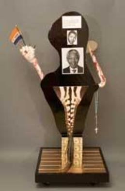 Wood Sculpture by George Transcender titled: south africa 1989, created in 1989