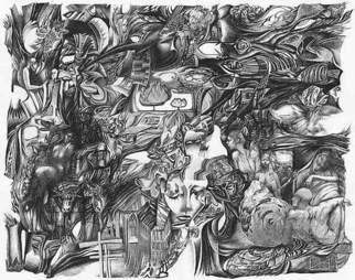 Oleg Lipchenko: 'Improvisation 9', 2001 Pencil Drawing, Surrealism.  The improvisation drawing begins from the random thought and continues following the process of thinking. Sometimes it stops, sometimes - bursts in several directions, leaving on paper lines, spots, images. Memories, something taken from books or movies become the matter of drawing. ...