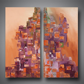 Paul Harrington Artwork City Scape, 2010 Acrylic Painting, Abstract