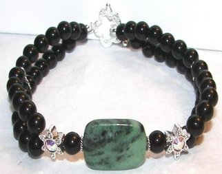 Ana Verde: 'Black Onyx Bracelet', 2007 Jewelry, Fashion.  This bracelet was made with 6mm black onyx, 10mm swarovski sliders, 1 15x20mm natural zoisite stone.  Bracelet measures 8 long ...