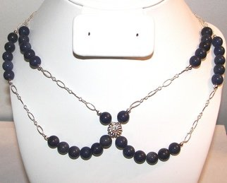 Ana Verde: 'Lapis Howlite Necklace', 2007 Jewelry, Fashion.  This necklace is made with 8mm Lapis Howlite Gemstones, Sterling Silver Link Chain, one Swarovski Slider.  Measures 20 long ...