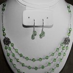 Swarovski Peridot Necklace And Earrings, Ana Verde