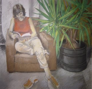 Antonio Trigo: 'Lena on the barn', 2003 Pastel, People.