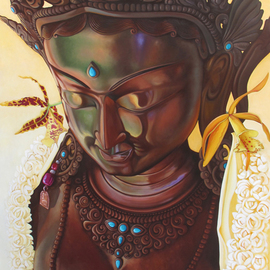 Troy Carney: 'Divine Grace', 2010 Oil Painting, Buddhism. Artist Description:  tara, green tara, troycarney, divine grace, kauai art, artist kauai, hawaii, moloa'a stupa, ...