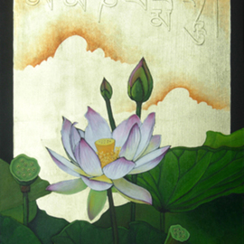 Troy Carney: 'The Jewel is in the Lotus', 2008 Oil Painting, Buddhism. Artist Description:  Oil and 18kt gold leaf on wood. The writing in the gold leaf is Tibetan. Before I knew the translation I made the Tibetan Sanskrit and painted the Lotus. I could not wait for my monk friend from Nepal ( who will be teaching me Tibetan Sanskrit in the ...
