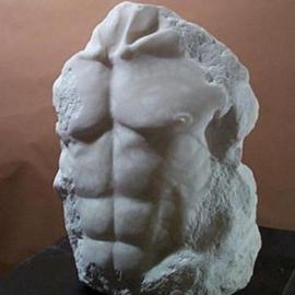 Terry Mollo: 'Noah', 1998 Stone Sculpture, Figurative. Artist Description: Front of male chest/ torso, carved from white translucent alabaster. This is a one- of- a- kind piece....