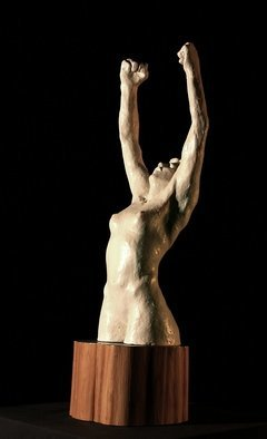 Terry Mollo: 'Rage', 2008 Ceramic Sculpture, World Conflict.  A woman raises her fists in rage. ( front view)...