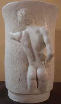 Terry Mollo: 'VAse With Male Figure', 2006 Ceramic Sculpture, Figurative. Partial male figure in high relief on vase appears to be gazing inside. This is the original fired ceramic, milkcoated. Piece can be cast in one of many materials for interior or exterior display....
