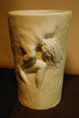 Terry Mollo: 'Vase With Female Figure', 2006 Ceramic Sculpture, Figurative. Partial female figure in high relief on vase appears to emerge from inside. The original fired ceramic has been sold, but the piece can be cast in one of many materials for interior or exterior display. ...