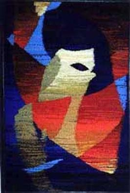 Natalia Tsvetkova: 'Selfportrait', 1998 Textile Art, Political. Tapestry from hand died wool and nylon...