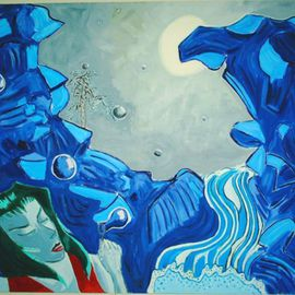 Tim Tero Artwork midnight waterfall, 2002 Oil Painting, Abstract Figurative