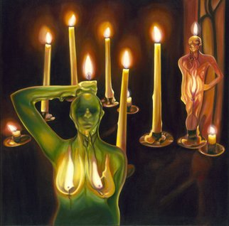 T. Smith: 'House of Wax', 2008 Oil Painting, Surrealism.  A female and male figure stand both with their heads, breasts and private parts on fire in a darkened room surrounded by other flames.    The title refers to the illusion that of relationships where passion can melt the exterior and reveal the true nature.  The woman is the dominant figure...