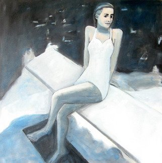 Jo Tuck: 'Blue bather', 2010 Tempera Painting, Beach. Artist Description:  limited edition canvas print ...
