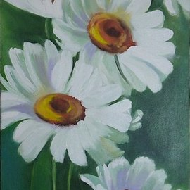 Natalia Kolesnichenko: 'chamomile', 2017 Oil Painting, Floral. Artist Description: Flawer, Chamomile...