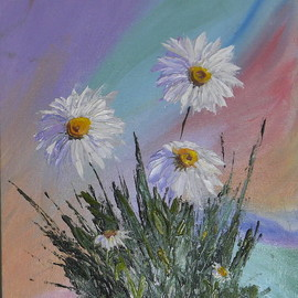 Natalia Kolesnichenko: 'favorite daisies', 2017 Oil Painting, Floral. Artist Description: Flowers, daisies, camomiles...