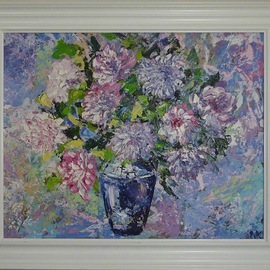 Natalia Kolesnichenko: 'favorite moments of the life', 2018 Oil Painting, Floral. Artist Description: Flowers in a blue vase...