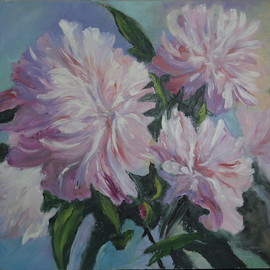 Natalia Kolesnichenko: 'pink peonies', 2017 Oil Painting, Floral. Artist Description: flowers, peones...
