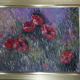 Natalia Kolesnichenko: 'scarlet poppies', 2018 Oil Painting, Floral. Artist Description: flower...