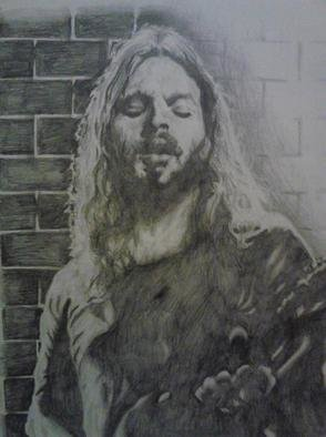 Pencil Drawing by Jonathan Russell titled: Gilmour, 2012