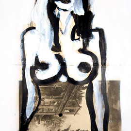 Neal Turner: 'Sarah M', 2011 Ink Painting, nudes. Artist Description: Size: 12 3/ 4 by 19 7/ 8 inches. Signed N. Turner lower right front, signed et dated 1913 and 2011 on the reverse, title on reverse. Indian Ink, acrylic and graphite on 200 gram paper from an auction catalogue titled aEURoeCatalogue des Tableaux Anciens, Objets daEURtmArt ...