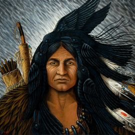 Olivia Francis Artwork Crow Warrior, As the Crow Flies, 2008 Acrylic Painting, Southwestern