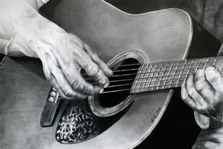 Tyrone Webber: 'guitar hands', 2018 Digital Print, Music. Artist Description: print of original graphite draing on A3 bristol board only ten prints available prints will be numbered and signed by myself on the back ie one of ten etc etc...