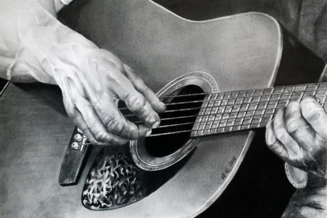 Tyrone Webber  'Guitar Hands', created in 2018, Original Drawing Other.