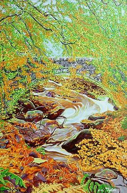 Landscape Acrylic Painting by B.w. Tyler Title: THE RIVER     England, created in 1998