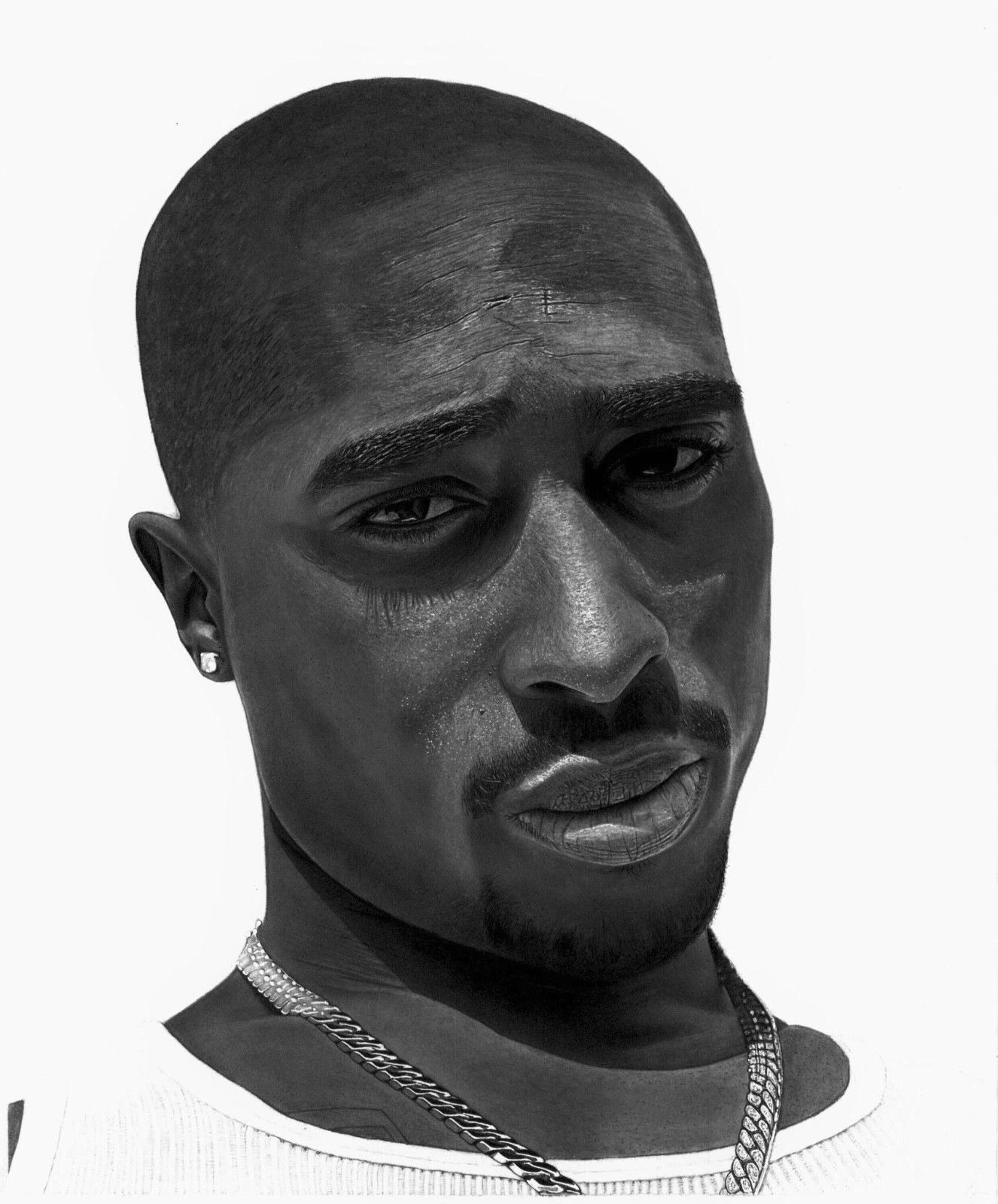 Tupac shakur graphite drawing drawing by tyler pitaro