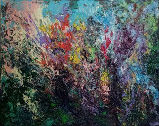 Susan Cantor-uccelleti: 'Todays Garden', 2016 Acrylic Painting, Abstract.  Beautiful bright colors, heavily layer. Floral, all the colors that you would see only in your garden. Done with my palette knives and my energy. Original artwork, no copies have been made. Signature on the back. Can be shipped with the frame which is a floater frame, if shipped in...