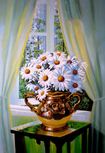 Sergey Puzirchenko  'Flowers Of Camomile', created in 2011, Original Painting Oil.